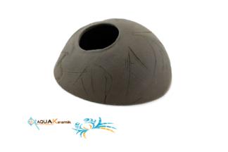 Aquakeramik Iglu-Höhle aus Ton für Cichliden Schwarz