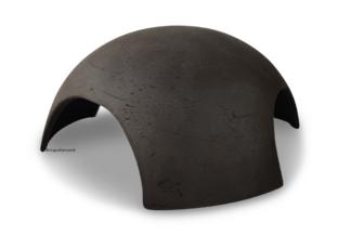 Iglu aus Ton für Axolotl 3 Eingänge 18 cm schwarz